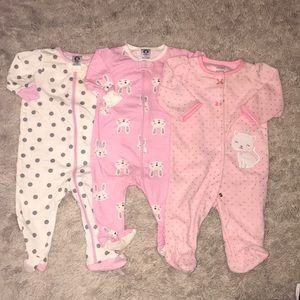 Other - Three baby girl footies!